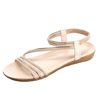 Women Flat Shoes Fashion Bohemia Leisure Lady Sandals Outdoor Shoes (36 Beige)