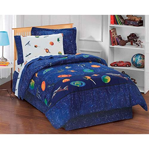 - 6 Piece Kids Blue Sun Moon Stars Comforter Set, Outer Space Galaxy Invaders Space-themed Design with Stars, Detailed Planet and Rocket Design Print (Twin)
