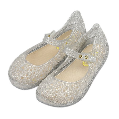 iFANS Girls Princess Jelly Sandals Mary Jane Bird Nest Layered Lines Flat Silver
