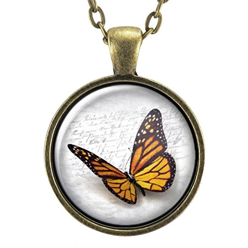 Orange Monarch Butterfly Necklace Pendant, Insect Jewelry -