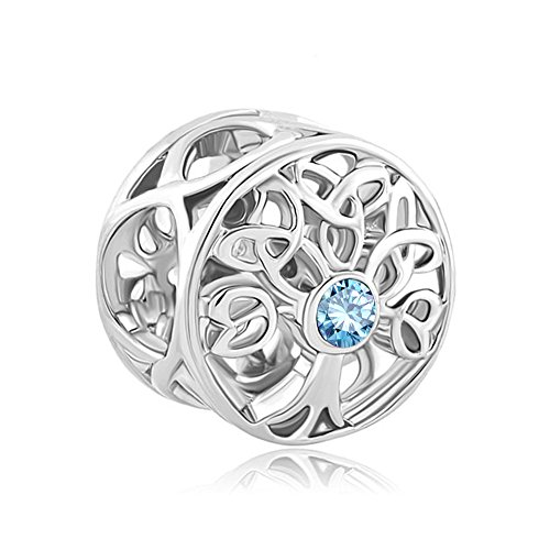 ReisJewelry Celtic Knot Charms Filigree Family Tree Of Life Charm Beads For Snake Chain Bracelet (Blue)