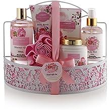 Mother's Day Gifts - Spa Gift Basket - Wild Rose & Raspberry Leaf Fragrance - 7 Piece Bath & Body Set For Women, Contains Shower Gel, Lotion, Body Scrub, Bath Salt, Body Mist, Bath Puff & Shower Caddy