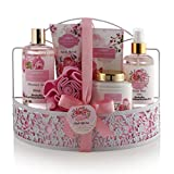 Home Spa Gift Basket - Wild Rose & Raspberry Leaf Scent - Luxurious 7 Piece Bath & Body Set For Men/Women, Contains Shower Gel, Body Lotion, Body Scrub, Bath Salt, Body Mist, Bath Puff & Shower Caddy