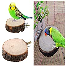 Yosoo Round Wood Coin Parrot Bird Cage Perches Stand Platform Pet Budgie Hanging Toy