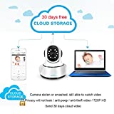Cloud Storage Wireless WIFI Security Camera,720P Home Surveillance IP Camera Baby Monitor with Night Vision Pan/Tilt Two way Talk ( Free App supports iOS Android),Support 64G TF Card(not include)