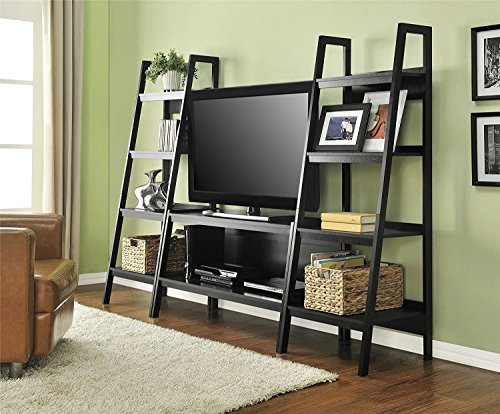 Premium TV Stand + Bookcase Entertainment Console Rack Rear for up to 45