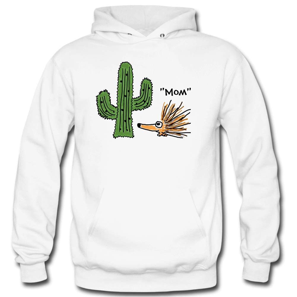 Mens Funny Cartoon Porcupine and Cactus Long Sleeve Hooded Sweatshirt Personality
