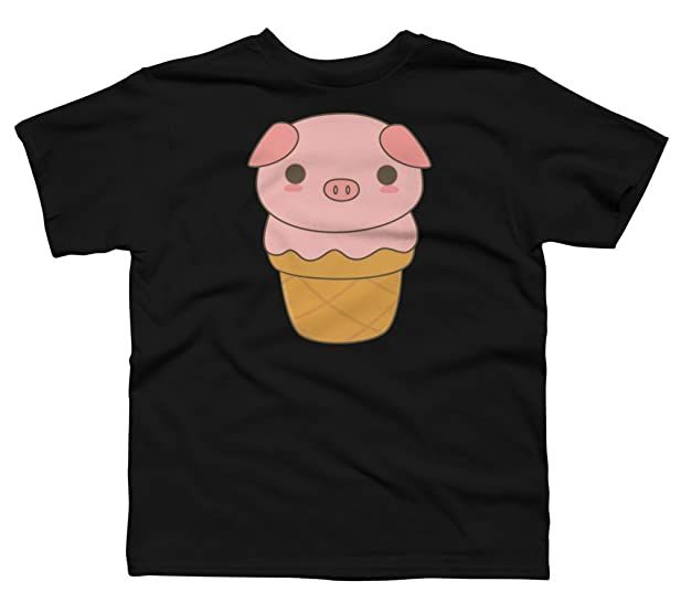 Kawaii Cute Pig Ice Cream Cone Boy's X-Small Black Youth Graphic T Shirt