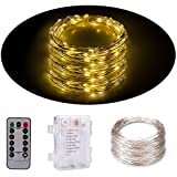 Senbao Dimmable Starry String Lights, 33 ft, Copper Wire,8 Modes Starry Fairy String Lights Battery Powered with Remote Control (Warm white)