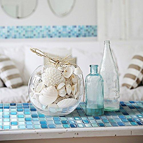 BEAUSTILE Decorative Tile Stickers Peel and Stick Backsplash Fire Retardant Tile Sheet (10pcs) (N.Blue) by BEAUS TILE (Image #3)
