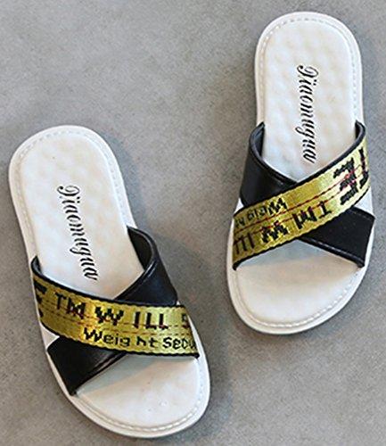 VECJUNIA Boy's Girl's Slide On Flat Slippers Anti-Skid Cross-Strap Indoor Shoes (Black, 11 M US Little Kid) by VECJUNIA (Image #3)