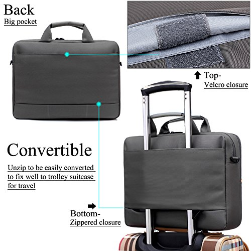 BRINCH(TM) 17.3 inch New Soft Nylon Waterproof Laptop Computer Case Cover Sleeve Shoulder Strap Bag with Side Pockets Handles and Detachable for Laptop/Notebook/Netbook/Chromebook,Colour Grey