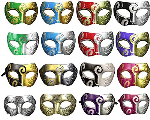 Mydio 16 Pieces Unisex Retro Masquerade Mask Costume