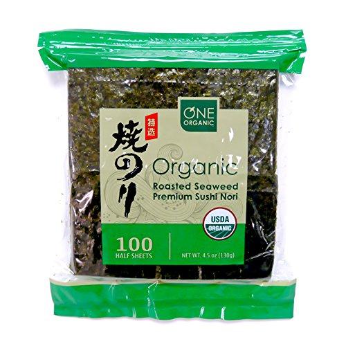 ONE ORGANIC Sushi Nori Premium Roasted Organic Seaweed (100 Half Sheets)