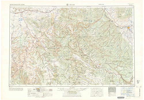 YellowMaps Moab UT topo map, 1:250000 Scale, 1 X 2 Degree, Historical, 1964, 22.7 x 32.6 in - Polypropylene