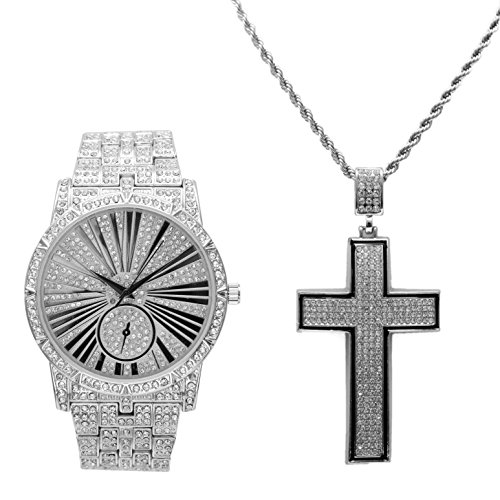 (Silver Bling on Blast Iced Out Hip Hop Watch & Black Trim Iced Out Concave Shape Cross - L0503C Silver)