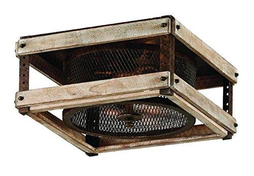 (Troy Lighting Merchant Street 3-Light Flush Mount - Rusty Iron with Salvaged Wood Slats Finish and Iron Mesh Shade)