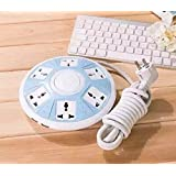 QOCOO 6 Outlet 2 USB Home office Creative UFO Shape Power Strip Sockets Multi Outputs Phone Charging Station Overload Protection 6ft Cable US Plugs 2500w 10A 5V 2.1A Charge for iPhone Plus iPad Mini Samsung Galaxy Tablet and Other Smartphone (BLUE)