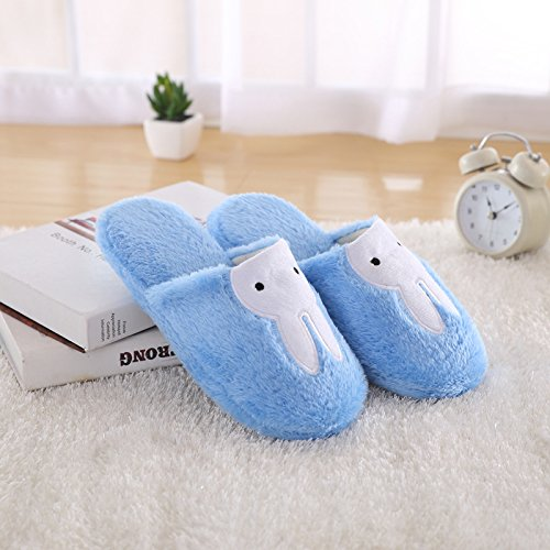 Fankou simpatico coniglio fondo morbido cotone pantofole home matura in autunno e inverno uomini e donne caldo cotone pantofole coppie), blu cielo ,4243