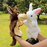 Baby Plush Toy Gift Animal Hand Puppet Bedtime Story Tool Rabbit & Wolf 2Pcs/Set-