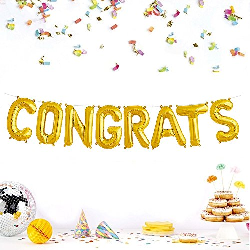 Vagski Congrats Balloons Banners Decor Gold Letters Balloons for Promotion Party Birthday Anniversary Decorations Graduation Celebration (16 Inch) -