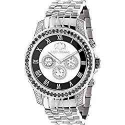 Luxurman Designer Watches: Unique Men's White & Black Diamond Watch 3.25ct