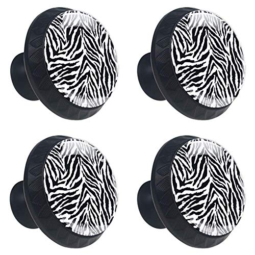 jessgirl Abimal Seamless Zebra Skin Drawer Knobs Handles Pulls for Cupboard Dresser Office with Screws DIY(Pack of 4)