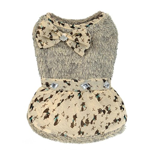 Elevin(TM) Small Size Dog Clothes Pet Puppy Dot Bowknot Dress Charm Princess Zircon Skirt Apparel (XS, (Snow White Dog Costume)