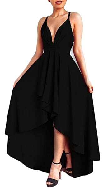 2572f2d253 Lutratocro Women s Party Stylish Sexy Cocktail Low Cut Spaghetti Strap High  Low Long Dress at Amazon Women s Clothing store