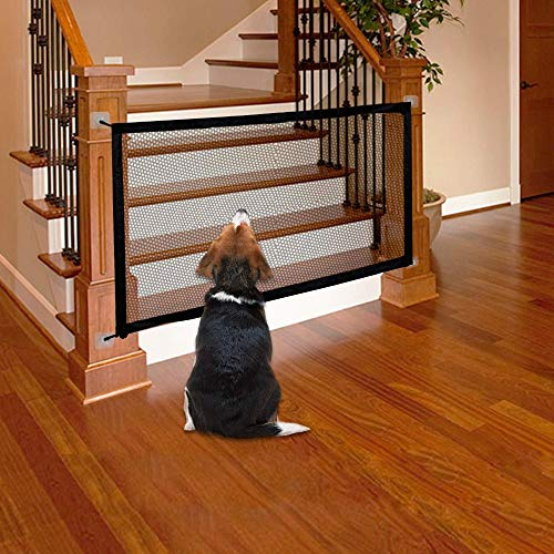Magic Gate for Dogs Pets Safety Gate Baby Safety Door Portable Folding Guard Gate Dog Safety Gates Safety Fence Magic Safety Enclosure for Stairs Hall Doorway Wide Tall