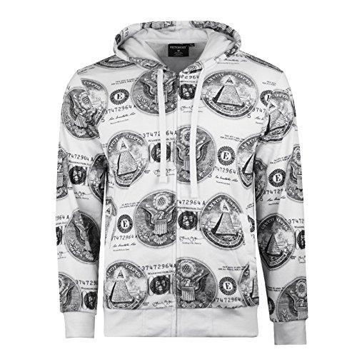 NEW Men Dollar Sign Jacket Pyramid Triangle Eye Zip Up Hooded Long Sleeve Shirt (S, White)