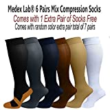 Medex Lab Ladies 6 Pack Compression Socks: Calves High Compression Socks Aid in Blood Circulation Relieves Pain and Aches off your Feet and Prevents Varicose Veins and More (6 White Color Socks)