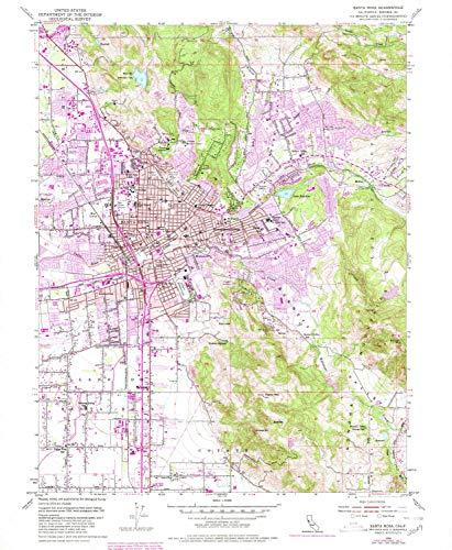 YellowMaps Santa Rosa CA topo map, 1:24000 Scale, 7.5 X 7.5 Minute, Historical, 1954, Updated 1980, 26.8 x 22 in - Paper (Bellevue Fountain)