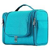 Extra Large Capacity Hanging Toiletry Bag for Men & Women, Portable Waterproof Bathroom Shower Bag, Lightweight Dopp kit Shaving Bag, Sturdy Metal Hook Organizer Makeup Bag (Light Blue)