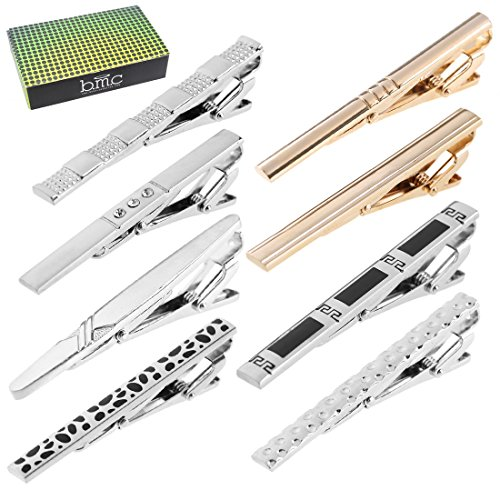 (BMC 8pc Mens Tie Clips Bar Pins for Skinny Neckties Accessories - Silver)