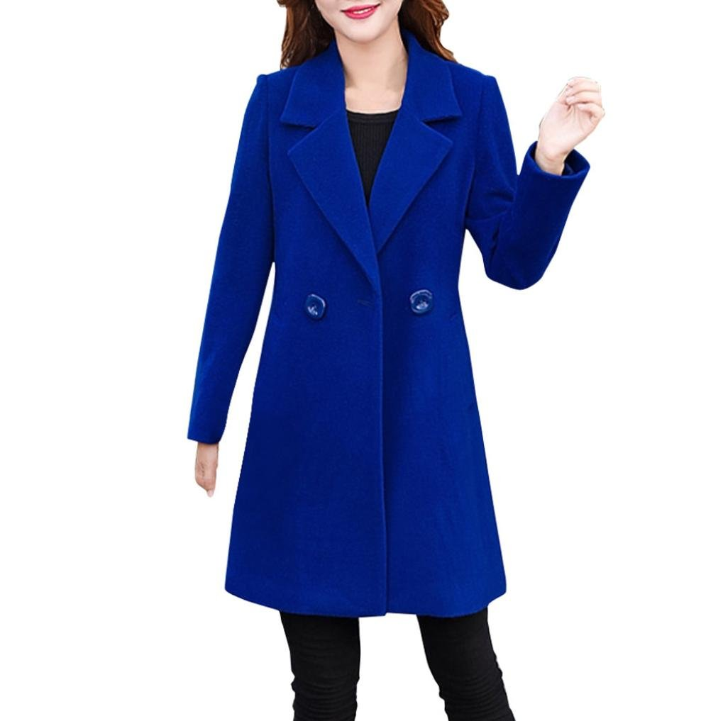 Forthery Women's Trench Coat Winter Long Jacket Double Breasted Overcoat (Tag L= US M, Blue)