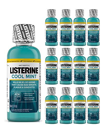 Listerine Mouthwash Cool Mint Antiseptic Bad Breath Travel Size 3.2oz (50-Pack)