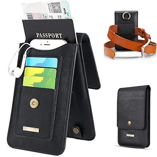 Passport Holder Travel Wallets for Men with Belt Loop Carry-on Bag for Charger Credit Cards Black 6.5 ()