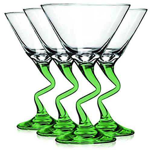 Libbey Light Green Z Shaped Stem Martini Glasses with Colored Accent - 9 oz. Set of 4- Additional Vibrant Colors Available by TableTop King -