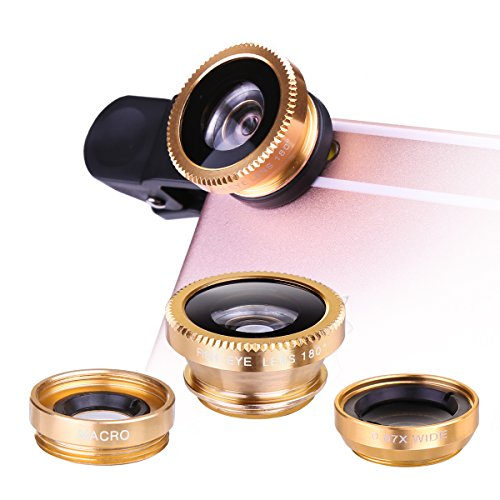 3-in-1 Clip Lens for Mobile Phone and Tablet Set of 2 (Gold) - 7