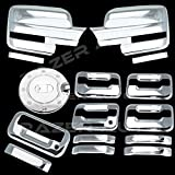 Razer Auto Triple Chrome Plated Mirror Cover (Does Not Fit on Towing Mirror), 4 Door Handle Cover With Keypad And without Passenger Keyhole, Tailgate Handle, Gas Door Cover for 09-14 Ford F150