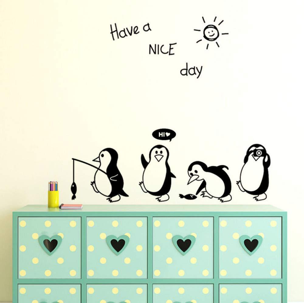 Wandaufkleber Wohnzimmer Sch/önen Tag Niedlichen Tier Pinguin K/ühlschrank Aufkleber K/ühlschrank K/üche K/ühlschrank K/ünstler Residenz Dekoration