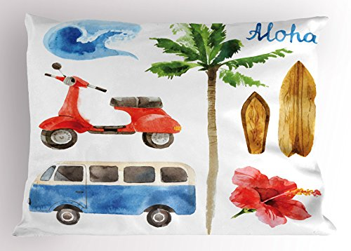 (Lunarable Hawaiian Pillow Sham, Old School Moped and Hippie Van with Watercolor Style Surf Board Tropical Design, Decorative Standard Size Printed Pillowcase, 26 X 20 Inches, Multicolor)