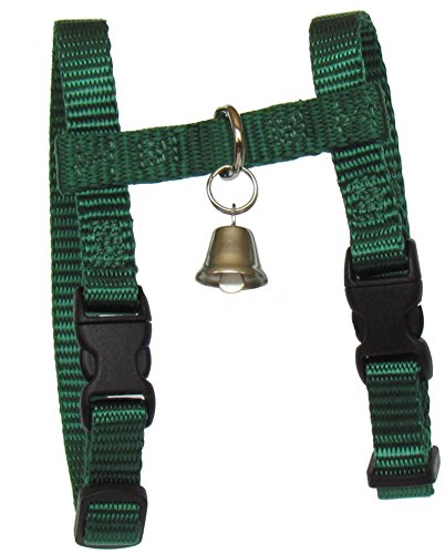 Sandia Pet Products 3/8' REGULAR Hunter Green Ferret Harness with Bell - Adjustable - 3/8' Leash Webbing