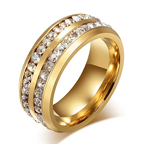 Meixao Mens Wedding Bands Classic 8MM Stainless Steel Plated 18K Gold Double Row Crystal Womens Promise Anniversary Rings High Polished Finish Comfort Fit Size 6-13 (Double Row Engraved Band)