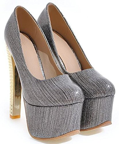IDIFU Womens Dressy Extreme High Block Metallic Heels Low Top Slip On Platform Pumps Shoes Gray 9Ve15lN29