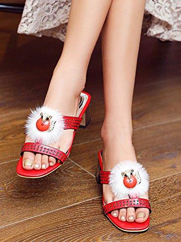 Aisun Womens Fashion Strass Fluffy Dressy Block Mid Tacco Slip On Open Toe Sandali Con Cinturino Scorrevole Rosso