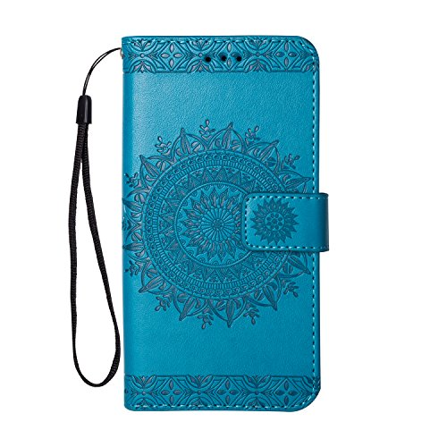 - Galaxy S7 Case, Folice Mandala Flower Pattern [Shock Absorbent] PU Leather Kickstand Wallet Cover Durable Flip Case for Samsung Galaxy S7 2016 Release (Blue)