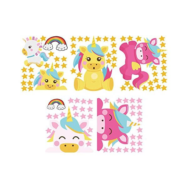 Arttop Unicorn Wall Sticker Baby Nursery Unicorn Wall Decal Rainbow Wall Stickers Star Wall Decal Nursery Wall Decor 9