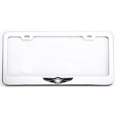 Deselen Stainless Steel License Plate Frame for Genesis with Screw Caps Cover Set, Genesis Logo,Silvery White/Chrome (2 Pieces Front/Back) LP-GE01WP: Automotive